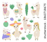 collection of cute lamas and... | Shutterstock .eps vector #1863718675
