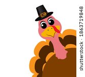 thanksgiving cartoon turkey... | Shutterstock . vector #1863719848