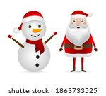 santa claus and snowman in a... | Shutterstock .eps vector #1863733525