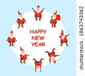 happy new year 2021 card  set...   Shutterstock . vector #1863743362