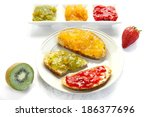 jam with slices of bread on... | Shutterstock . vector #186377696