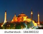 hagia sophia with lantern light ... | Shutterstock . vector #186380222