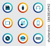 Electronics Icons Colored Set...