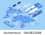 isometric global logistics... | Shutterstock . vector #1863822088
