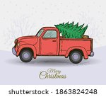 vintage style drawing of truck... | Shutterstock . vector #1863824248