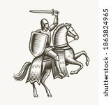 knight on horseback. medieval... | Shutterstock .eps vector #1863824965