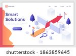 landing page template with man... | Shutterstock .eps vector #1863859645