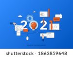 infographic banner 2021 year of ... | Shutterstock .eps vector #1863859648