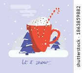 hot cocoa in red cup  vector...   Shutterstock .eps vector #1863859882