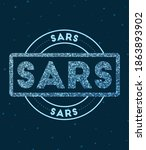 sars. glowing round badge.... | Shutterstock .eps vector #1863893902