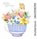 Cup With Flowers. Tulip ...