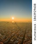 Aerial Drone Shot Of Rising Sun ...