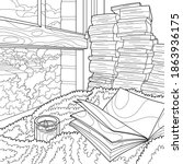 coloring book for adults.... | Shutterstock .eps vector #1863936175