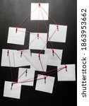 Small photo of Photo of a black detecftive board with blank paper linked by red thread.