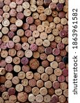 Small photo of Wine corks background, cork collection, many wine corks