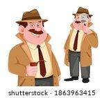 stock vector detective... | Shutterstock .eps vector #1863963415