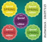 spring offer stickers | Shutterstock .eps vector #186397115