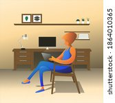 illustration of a woman sitting ... | Shutterstock .eps vector #1864010365