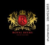 royal deer crest logo template | Shutterstock .eps vector #1864012855