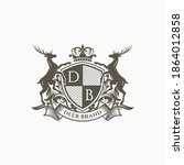 royal deer crest logo template | Shutterstock .eps vector #1864012858