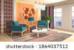 interior of the living room. 3d ... | Shutterstock . vector #1864037512