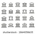 premium set of bank line icons. ... | Shutterstock .eps vector #1864058635
