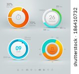 set of vector pie charts | Shutterstock .eps vector #186410732