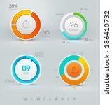set of vector pie charts | Shutterstock .eps vector #186410732