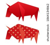 origami paper ox element in two ... | Shutterstock .eps vector #1864134862