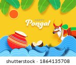 decorative indian ox character...   Shutterstock .eps vector #1864135708