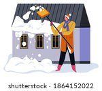 male character cleaning snow... | Shutterstock .eps vector #1864152022