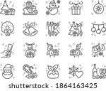 christmas party line icon set.... | Shutterstock .eps vector #1864163425