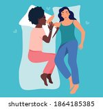 two women are sleeping together....   Shutterstock .eps vector #1864185385