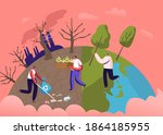 male characters planting... | Shutterstock .eps vector #1864185955
