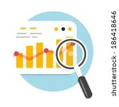 magnifying glass and chart.... | Shutterstock .eps vector #186418646