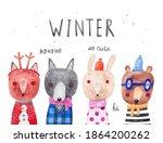 winter banner with cute animals ... | Shutterstock . vector #1864200262