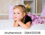 sweet thoughtful little girl ... | Shutterstock . vector #186420338