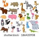 wild animal cartoon collection | Shutterstock . vector #186420938