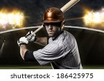baseball player on a orange... | Shutterstock . vector #186425975