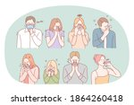 cold  flu  feeling ill and... | Shutterstock .eps vector #1864260418