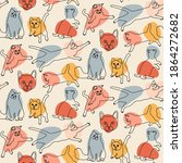 continuous line cat... | Shutterstock .eps vector #1864272682