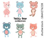 cute teddy bear doll set vector ...   Shutterstock .eps vector #1864276228