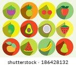 fruit flat icon set   Shutterstock .eps vector #186428132
