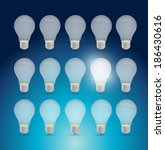 set of light bulbs and one... | Shutterstock . vector #186430616