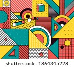 the geometric colorful pattern... | Shutterstock . vector #1864345228