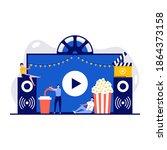 open air cinema  outdoor movie... | Shutterstock .eps vector #1864373158
