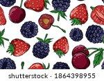 seamless pattern of berries.... | Shutterstock .eps vector #1864398955
