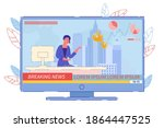 Live Breaking News Broadcast Fire Announcing. Woman Television Presenter Give Fire-Situation Statistic in City. Anchorwoman Telling about City Skyscraper Inflammation. TV Studio Interior Illustration