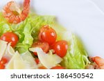 salad with seafood  romaine... | Shutterstock . vector #186450542
