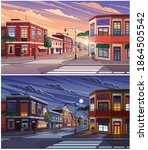 street of town day and night... | Shutterstock .eps vector #1864505542